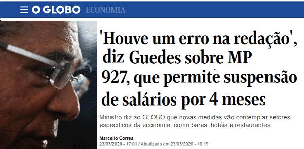 """Guedes diz que """"assinou sem ler"""" MP com """"erro de redação"""""""